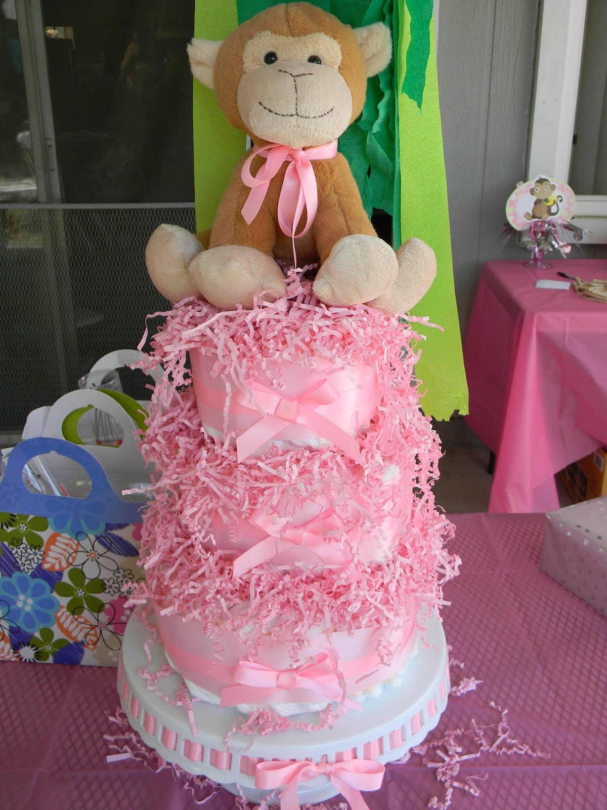 Quick Pink Monkey Diaper Cake 095b8fce382e