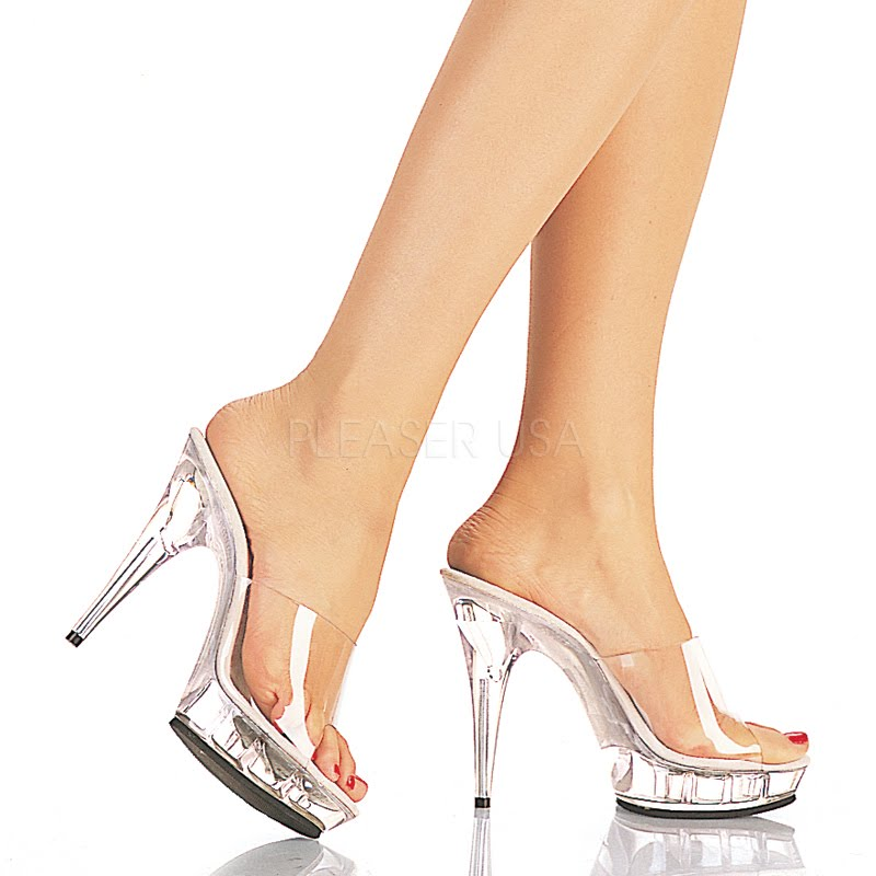 Lucious Shoes by PLEASER. Pleaser Lucious Collection 1 inch platform slide with a 5 inch clear stiletto heel and a sexy clear open toe.