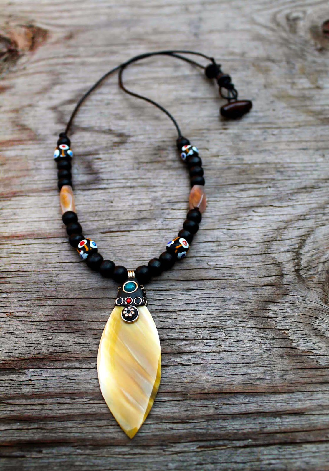 mens african horn pendant necklace