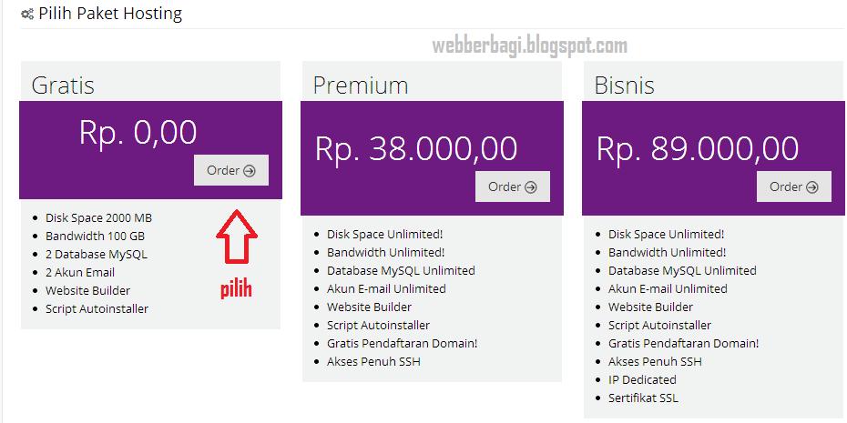 Paket hosting gratis IdHostinger