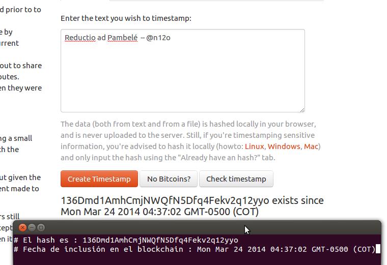 Ejemplo de uso del servidor de timestamp
