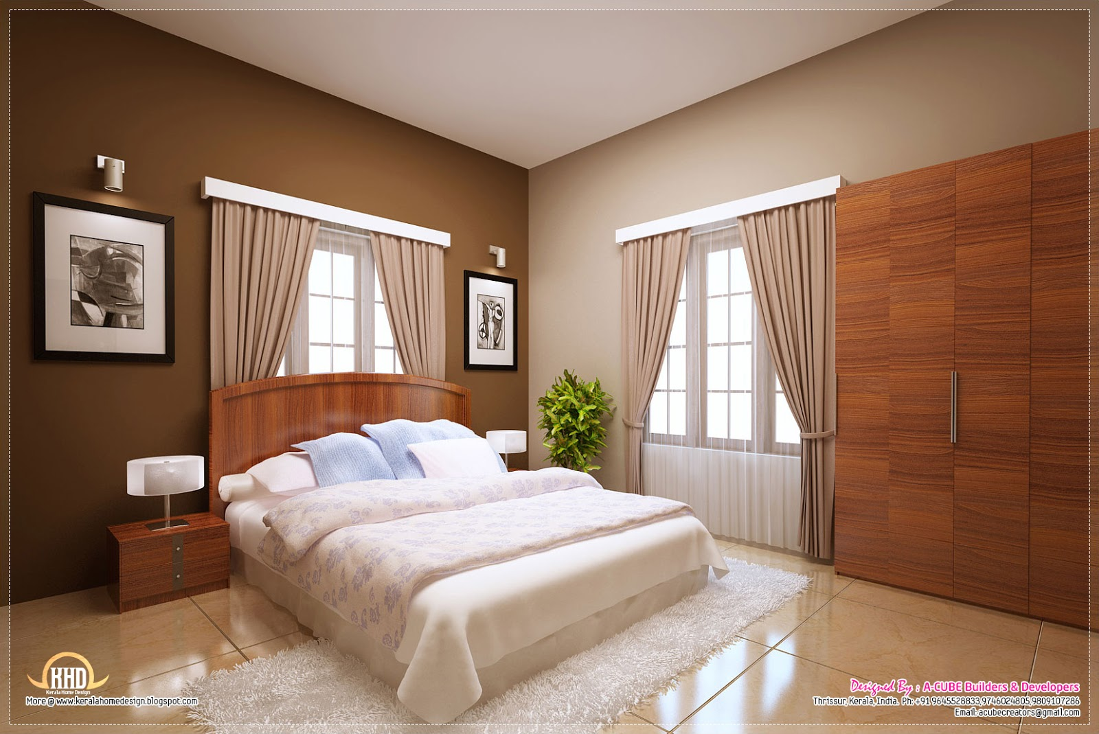 Awesome interior decoration ideas kerala home design and for Four bedroom design
