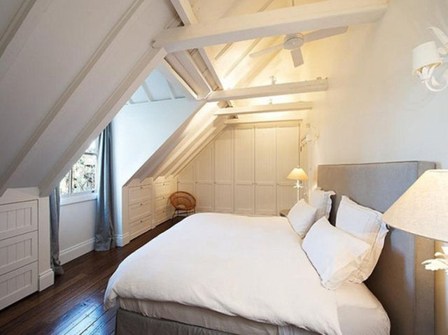 all white ceiling and beams