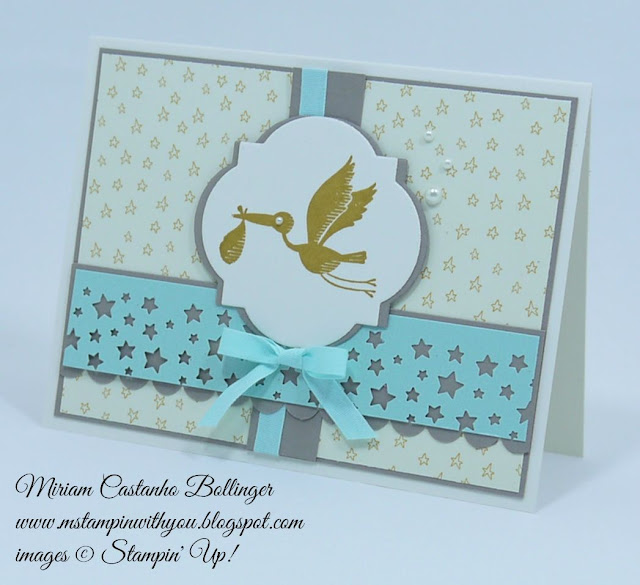 Miriam Castanho Bollinger, #mstampinwithyou, stampin up, demonstrator, baby card, rs, sweet li'l things dsp, confetti stars punch, scalloped edge border punch, big shot, window frames collection, su