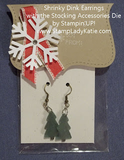 Shrinky Dink Earrings made with the Stampin'UP! Stocking Accessories Die