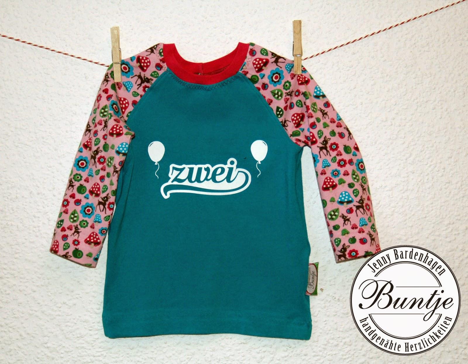 Geburtstagsshirt Shirt Geburtstag Zahl Alter Mädchen Tessa türkis rosa pink Reh Tiere Waldtiere handmade nähen Buntje