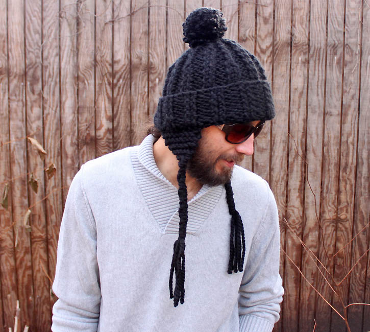 Free Crochet Pattern For Mens Earflap Hat : Mens Ear Flap Hat [knitting pattern] - Gina Michele