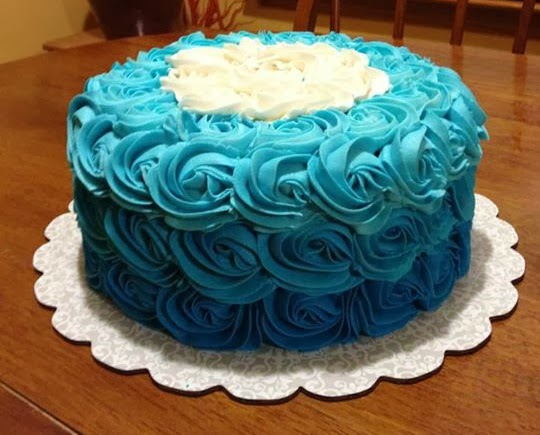 blue rosette ombre cake