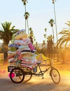 bici llena de objetos para picnic de vacaciones
