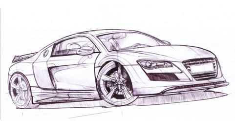Sketches on 2010 Audi R8 Car Drawing Jpg