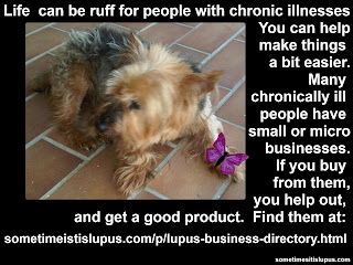 Image: silky terrier. Text: Life can be ruff for people who have a chronic illness. Many people with chronic illnesses have small or micro businesses. If you buy from them, you help them out, and get a good product.