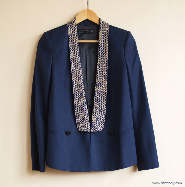 DIY: Chain embellished blazer (Rachel Roy inspired)