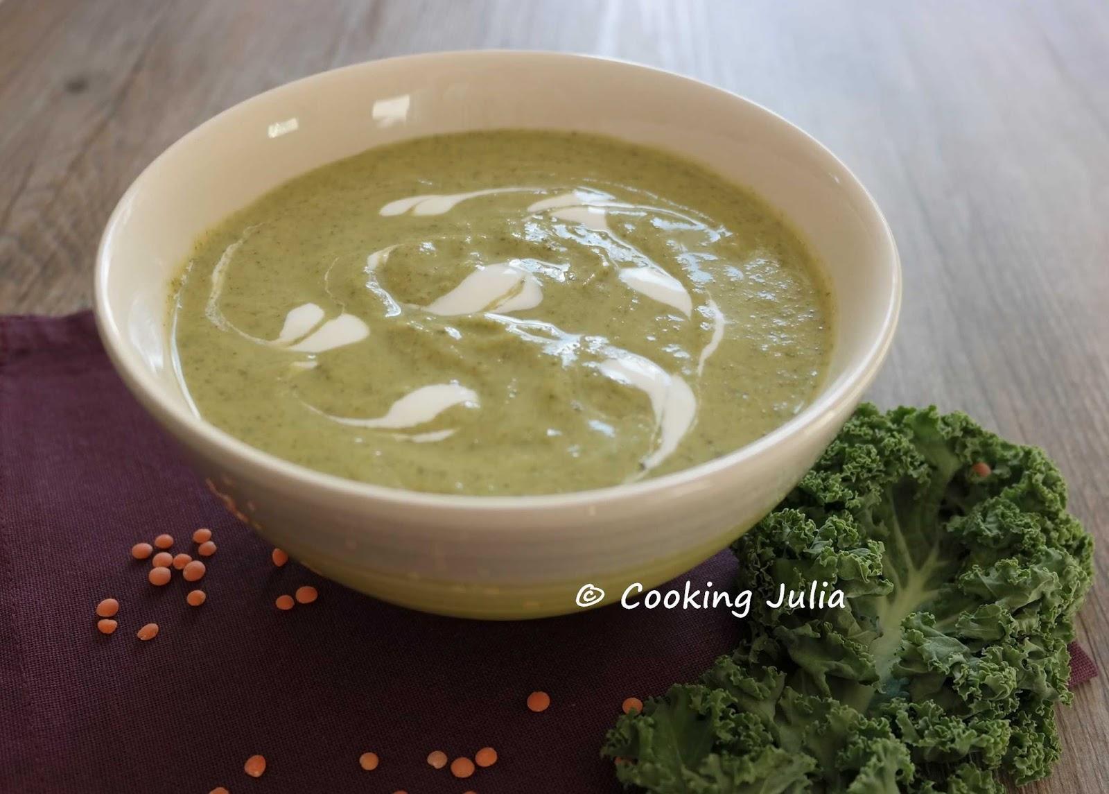 cooking julia velout de chou kale aux lentilles corail. Black Bedroom Furniture Sets. Home Design Ideas