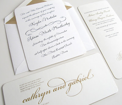 and from classic square edges to round we love this calligraphic inspired gilt edged ornate calligraphy invitation from our style me pretty collection - Vera Wang Wedding Invitations