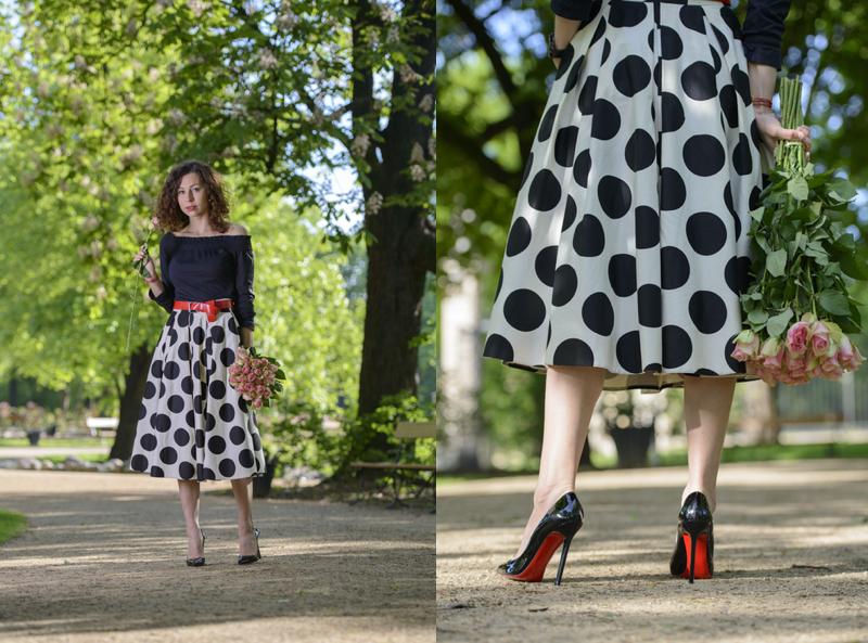 rozkloszowana spódnica na tiulu fashionblog