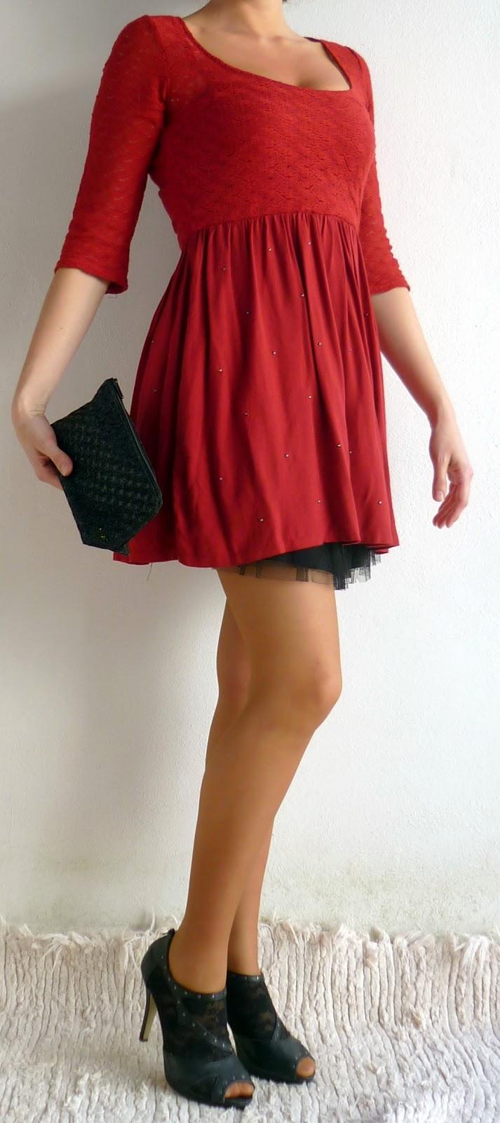 vestido rojo tul