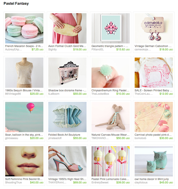 collection of pink, teal, mint, and cream items from shops on Etsy