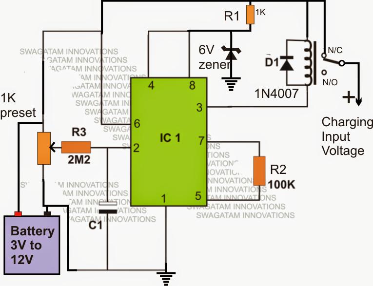 Li-Ion Battery Charger Circuit Using IC 555 ~ Electronic Circuit ...