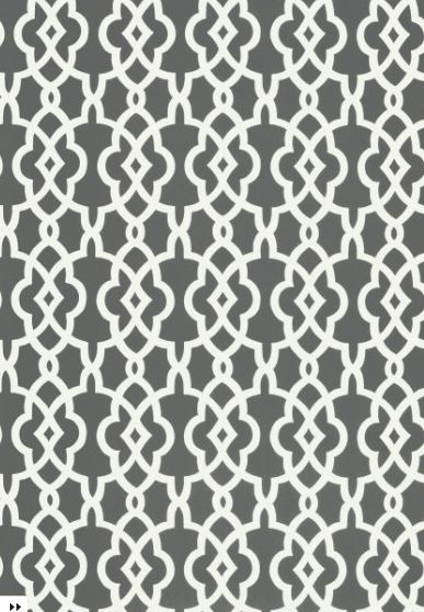 Gray fretwork trellis patterned wallpaper