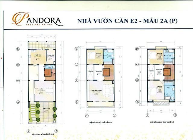 biệt thự pandora mẫu 2A tầng 1,2,3,4