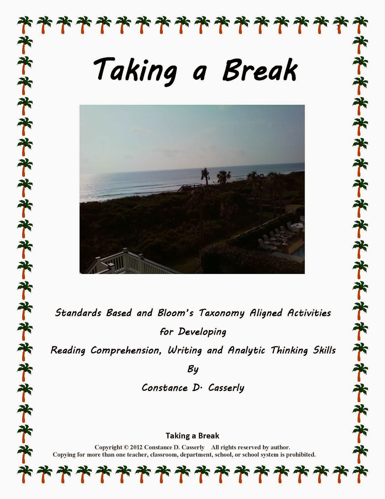 "Language Arts Activity - ""Taking a Break cover"