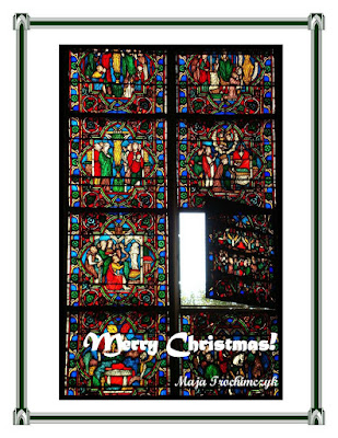 Merry Christmas Card with Stained-Glass Window, by Maja Trochimczyk
