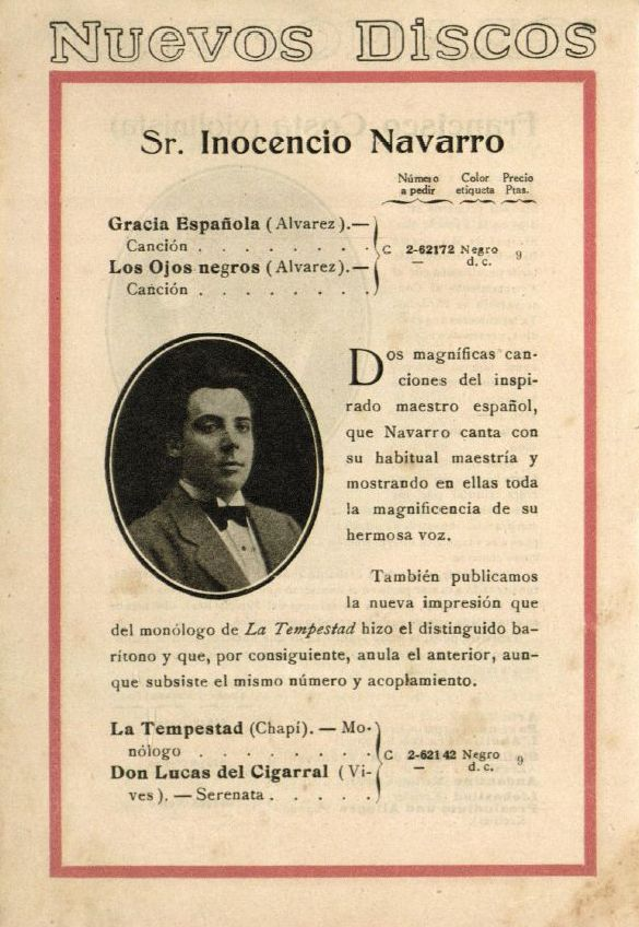 SPANISH BARITONE INOCENCIO NAVARRO CD
