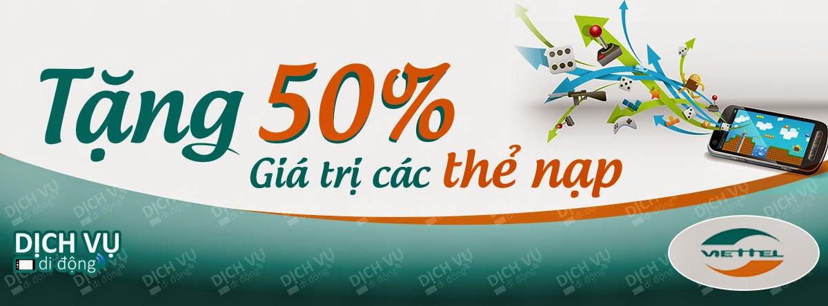 Viettel ưu đãi 50% giá trị thẻ nạp duy nhất 28/04/2015