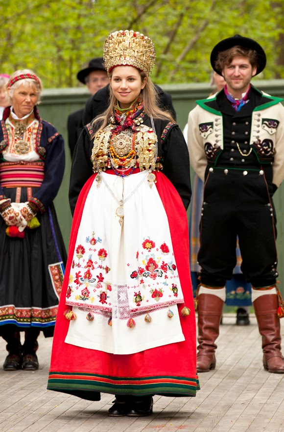 local style traditional wedding costume and headdress of europe