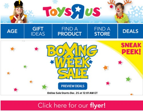 Toys R Us Boxing Week Sale Sneak Peek Flyer