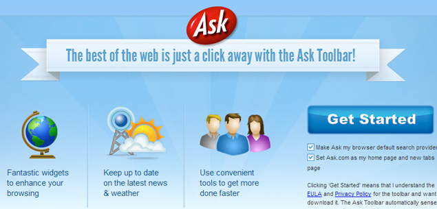 Come eliminare Ask Toolbar da Chrome Firefox Internet Explorer