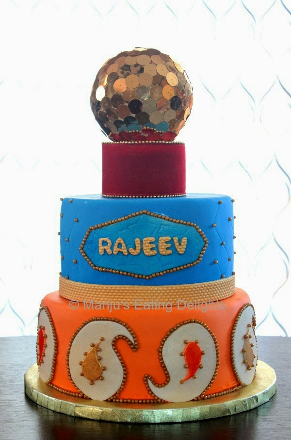 Manjus Eating Delights Bollywood theme cake with Paisley