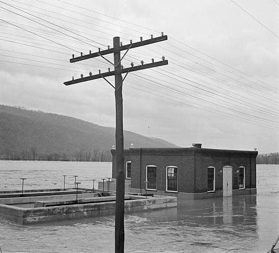 Substation on Shenandoah River 1936 Flood