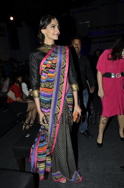 Sonam Style Fashion India Bollywood red carpet ethnic indian fashion forward sari