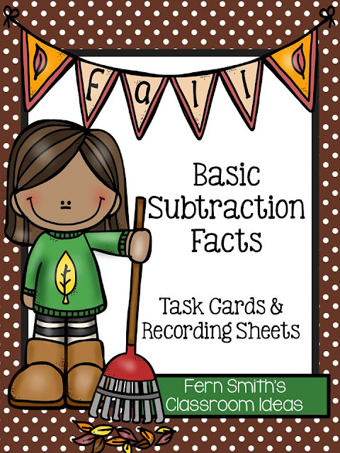 Fern Smith's Classroom Ideas Fall Subtraction Task Cards and Printables at TeacherspayTeachers Including Four Free Task Cards in the Preview Download.