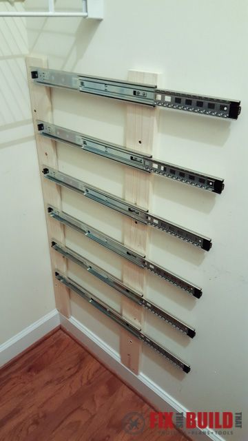 After Cleaning Out All The Stuff, Mount Drawer Slides Were Installed In The  Closet First.