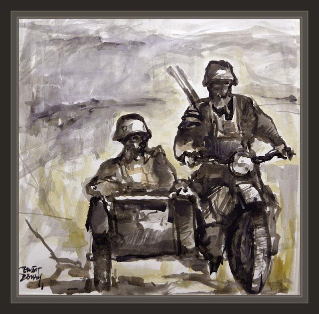 SOLDADO ALEMAN-SEGUNDA GUERRA MUNDIAL-MOTORISTAS-WW2-ART-ARTE-PANTINGS-PINTURAS-ERNEST DESCALS-