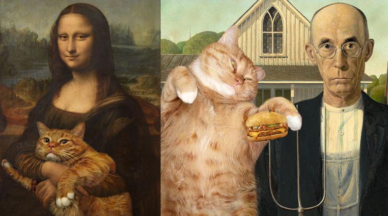 Artista ruso agrega a su gordo gato Zarathustra en pinturas emblemáticos