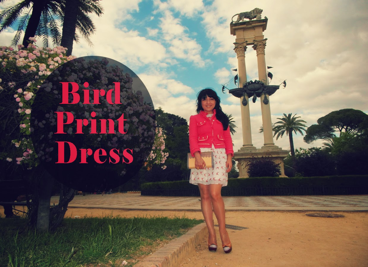 bird+print+dress