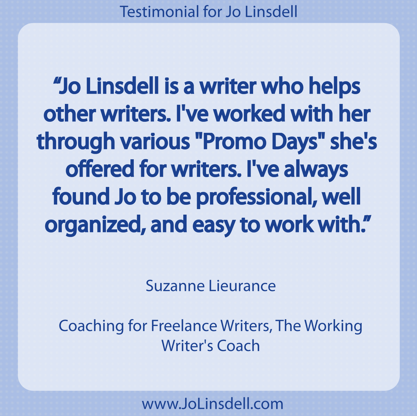 jo linsdell testimonials testimonial for jo linsdell by suzanne lieurance ""