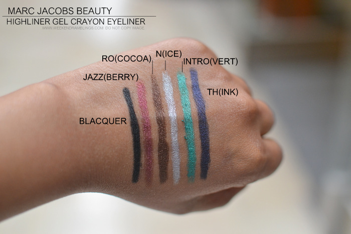 marc jacobs beauty highliner gel pencil eyeliner crayon blaquer jazzberry ro cocoa nice introvert think indian darker skin makeup blog photos swatches
