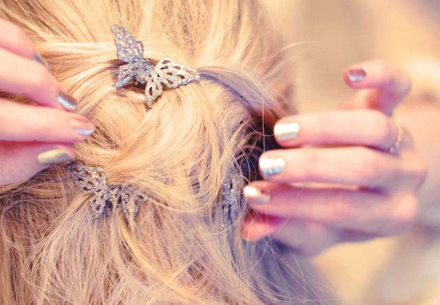 glittered butterfly hair clips, metallic nails