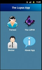 Menu options are patient, the lupus, doctor, about app.