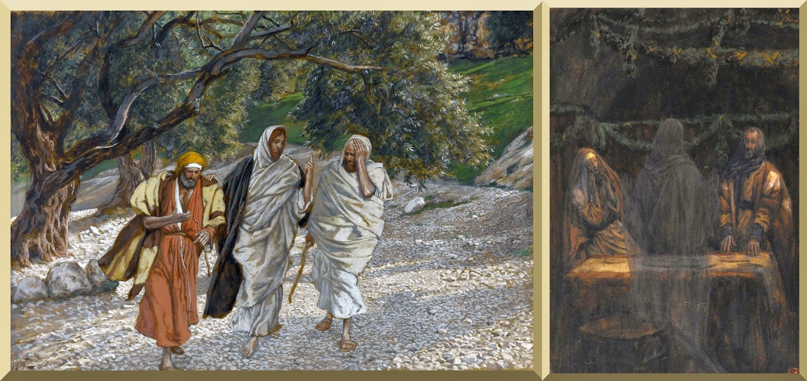"""The Pilgrims of Emmaus on the Road"" (left) and ""He Vanished from Their Sight"" (right) -- by James Tissot"