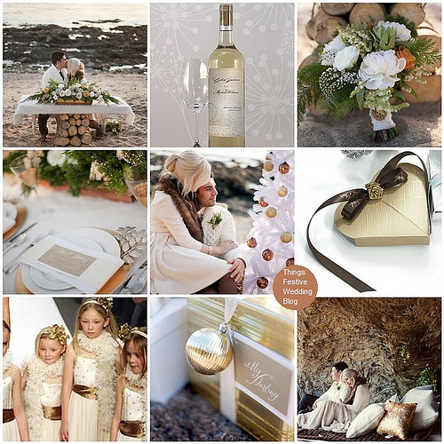 Unity Sand Ceremony Winter Beach Wedding Theme in Gold Brown and Ivory