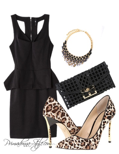 Labwork's Womens Sleeveless Peplum Open Back Dress Enzo Angiolini Infiniti White Leopard Heels Cutout Envelope Clutch Woven Ribbon Bib Necklace