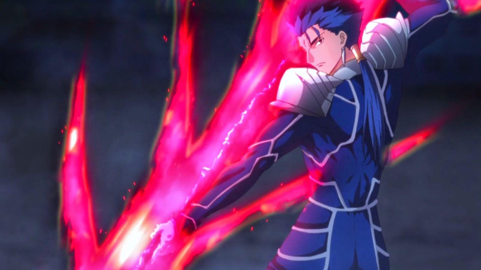 Cu Chulainn Servant Kelas Lancer Sedang Bersiap Menggunakan Phantasm Noble Nya Gae Bolg