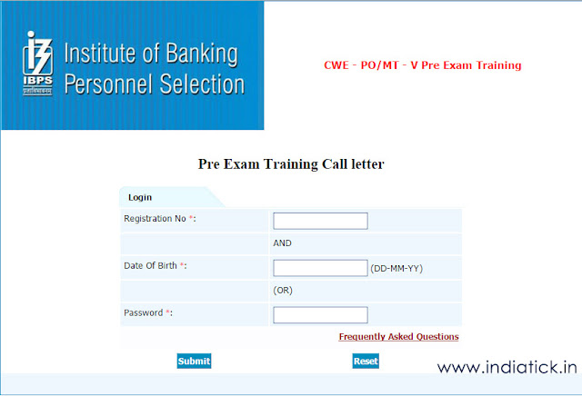 IBPS Pre Exam Training call letter 2015