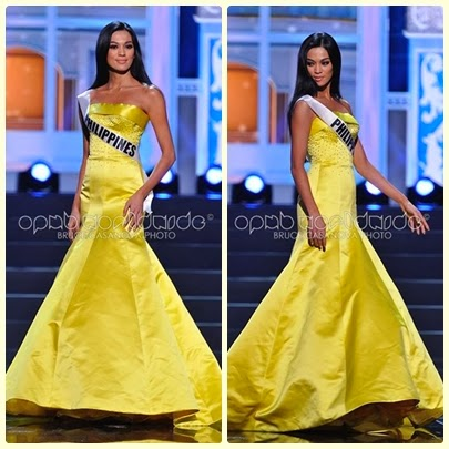 The golden queen, Ara Arida wearing a Barraza gown for Miss Universe 2013 preliminary competition