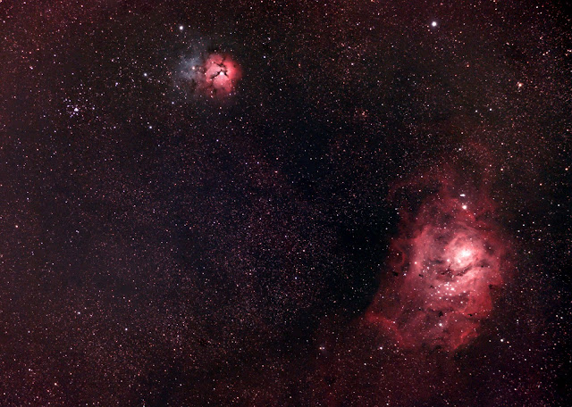 M8 - Lagoon Nebula, M20 - Trifid Nebula - Photo by Trevor Jones